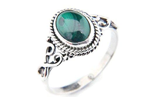 Ring Silber 925 Sterlingsilber Malachit grün Stein (Nr: MRI 42), Ringgröße:60