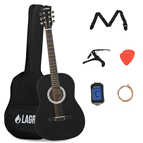 LAGRIMA Akustikgitarre für Anfänger, 96,5 cm, 4/4, Starter-Set für Kinder und Erwachsene, mit Kapodaster, Koffer, Gurt, Stimmgerät, Plektren und Stahlsaiten, Schwarz