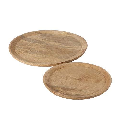 2 Holzteller Mangoholz Dekoteller Teller Deko Schale Mango Holz Ø 25 & 35 cm