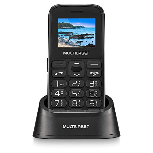 Celular Multilaser Vita com Base Dual Chip 2G Bluetooth Tela 1.8' Câmera Botão SOS Memória Expansível Preto - P9121