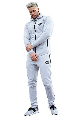 Aspire Wear Sudadera de Hombre Pantalones para Gimnasio y Deportes, Material elástico y Ajuste Delgado con Pantalones Negros para Correr.