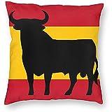 WHEYT Bandera de España con Fundas de Almohada de Tiro Cuadrado Decorativo de Osborne 'S Bull Funda de Almohada Suave Suave para sofá Cama Silla 40X40 cm