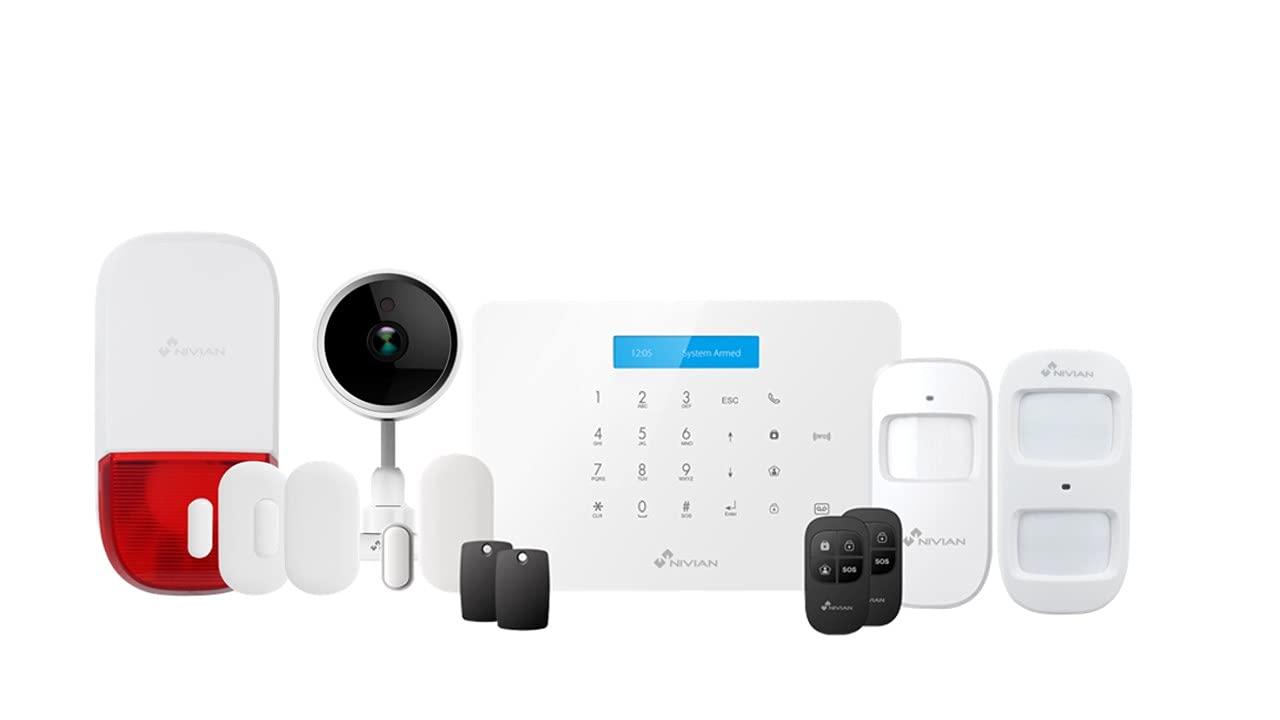 Nivian sistema de alarma antirrobo sin cuotas+cámara de seguridad–Wifi/GSM–Ampliable hasta 60 dispositivos–LCD–Control remoto a través de APP Tuya-Fácil instalación P2P con QR-Inalámbrica sin cables