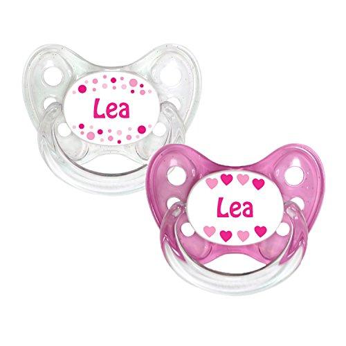 Dentistar® Silikon Schnuller 2er Set inkl. 2 Schutzkappen - Nuckel Größe 1 von Geburt an, 0-6 Monate - zahnfreundlich und kiefergerecht | Lea