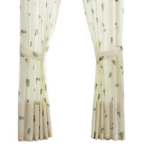 Magnolia Garden Floral Leaf Rod Pocket Window Curtains - Country Cottage Chic Design, Sage, Valance