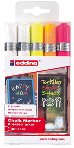 edding 4095 - Kreide-Marker - weiß & neon - Rundspitze 2-3 mm - 5er Set - Kreidestift (feucht abwischbar) für Tafel, Fenster, Glas, Spiegel, Whiteboard. Schreiben, Zeichnen, Handlettering