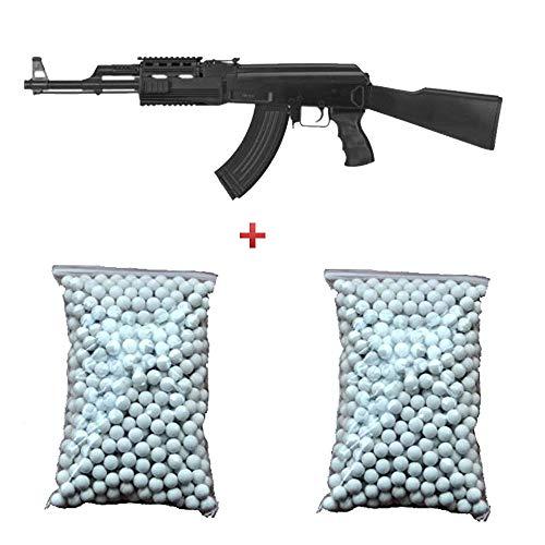 CYMA Airsoft Gift Pack Fucile d'assalto AK47 RIS AEG Nero 6mm 0.5 Joule 2 Sacchetto da 600 palle gratis! - CM022A