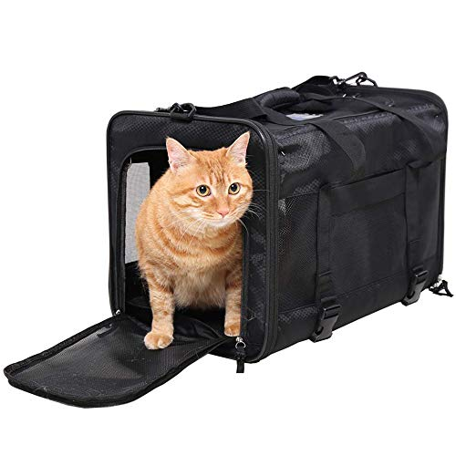 Top Loading Pet Carrier for Large Cat and Small Dog, Airline Approved, Collapsible-Soft Sided Pet Travel Carrier Bag with Wire Frame for Solid Structure
