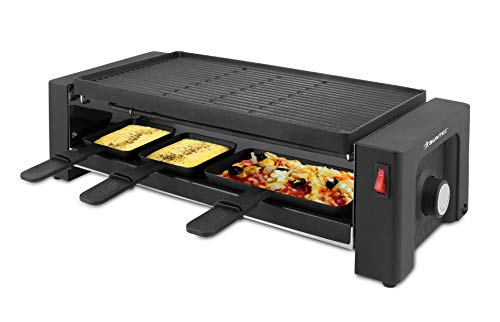 SUNTEC-raclettegrill – met extra pizzaplaat | tafelgrill voor 8 personen | incl. 8 kleine + 4 grote pannen | dubbelzijdige grillplaat 20 x 40 cm | max. 1450 watt | RAC-8625 turbo raclette