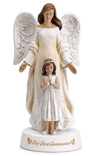 Joseph's Studio by Roman - Angel with Praying Girl My First Communion Figure, 7.75' H, Resin and Stone, Tabletop or Desk Display, Decorative, Collection, Durable, Long Lasting
