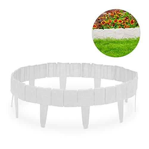 Relaxdays Rasenkante Steinoptik, dekorativer Steckzaun für Beet & Rasen, 10 Teile, niedrig, Kunststoff, H: 10 cm, weiß