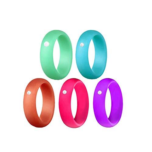 WANGYIYI 5pcs anello di nozze in Silicone ipoallergenico flessibile 5.7 mm elastici in Gomma con Strass per anelli di fidanzamento all'aperto sportivi (Size : Size 8)