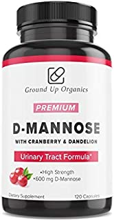Ground Up Organics D-Mannose Capsules with Cranberry Extract - Urinary Tract Health- 120 Vegan Capsules