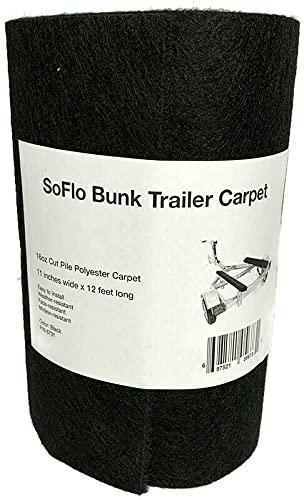 "SoFlo Bunk Trailer Carpet - Black 11"" x12' - 16oz Marine Grade Carpet, Jet Ski Trailer Ramps, Boat Trailer Bunk Carpet"