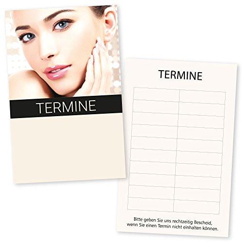 500 Kosmetikstudio-Terminkarten BEAUTY GOLD mit 10 Terminfeldern und Stempelfläche auf der Vorderseite