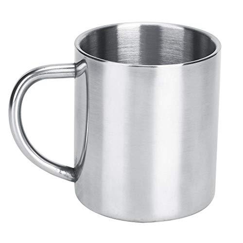 Waterbeker, 300 ml dikke dubbele laag roestvrijstalen koffiemok beker warmte-isolerende anti-kalkbeker met handvat