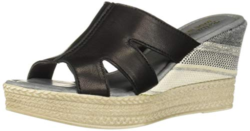 Bella Vita Women's Rox-Italy Slide Sandal Shoe, Black Italian Leather, 10 2W US