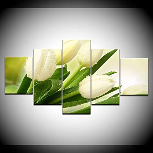 KJLTLD Canvas Prints - Tulip Floral HD - 200x100cm/80x40inch Nonwoven Flat Wall Decoration Wall Living Room - 5 Pieces - Art Prints - Ready to Hang - DA72966FA