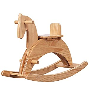 NBLYW Child Wood Rocking Horse, Rock and Ride Chair for Baby Toddler Nursery Room, Cute Secure Rocking Horse with Smooth Handle for Kid 1-6 Years