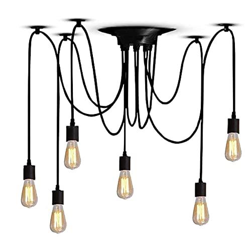 Iluminación Colgante Industrial Retro E27 Lámpara De Araña Edison Lámpara De Araña De Techo Ajustable Con 6 Luces Lámpara Colgante Rústica Para Cocina Comedor Bar