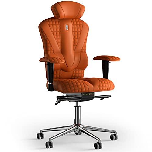 KULIK SYSTEM Victory - Silla de escritorio para ordenador con respaldo y cojín de asiento ergonómico patentado, silla de oficina ergonómica con costuras de piel sintética (naranja)