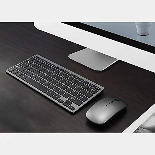 DAZER Wireless 2.4G Keyboard and Mouse Kit Rechargeable Combo Mini Multimedia Keyboard Mouse Set for Laptop PC TV Gray