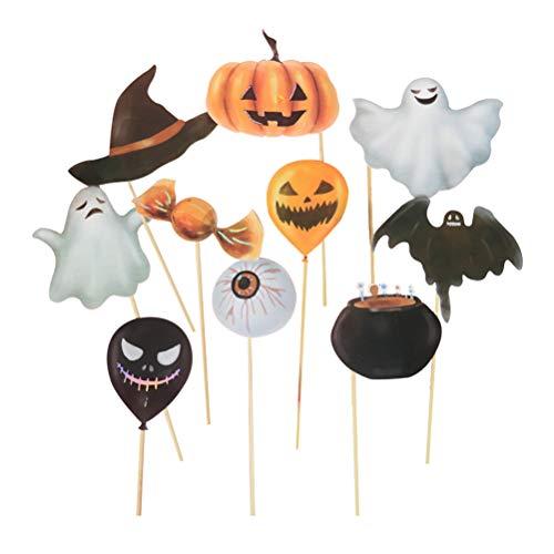 Amosfun 10er Halloween Foto Requisiten mit Halloween Kürbis Halloween Ghost für Party Halloween Zubehör