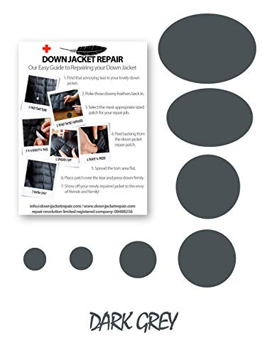 Kit de parches de reparación para chaqueta de plumón (autoadhesivo), 16 colores (gris oscuro)