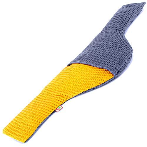 Saco Térmico Semillas MaxiCervical - Almohada Cuello para Calentar en Microondas (60x12-22 cm) - Cojín de Semillas - Bolsa de Calor con Funda lavable, Tela de Algodón 100% y Olor a Lavanda (Gofre)