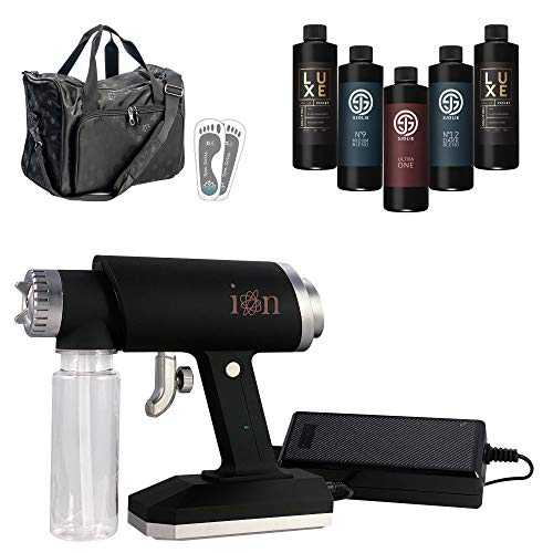 Naked Sun Ion Handheld Spray Tanning Machine with Sjolie Sunless Solution Kit, Adhesive Feet Protectors and Technician Duffel Bundle (4 Items)