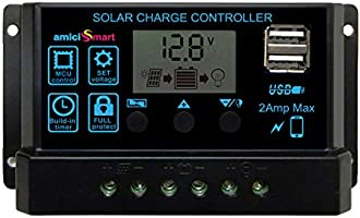 amiciSmart Solar Charger Controller 10A, Intelligent Battery Regulator for Solar Panel LCD Display with USB Port 12V/24V...