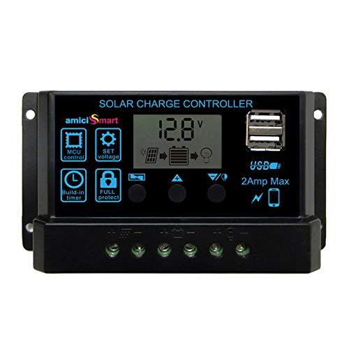 amiciSmart Solar Charger Controller 30A, Intelligent Battery Regulator for Solar Panel LCD Display with USB Port 12V/24V (30A)