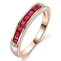 女性のためのユニークなファッション本物のルビージェムストーン14Kローズゴールドダイヤモンドの婚約結婚婚約指輪リング