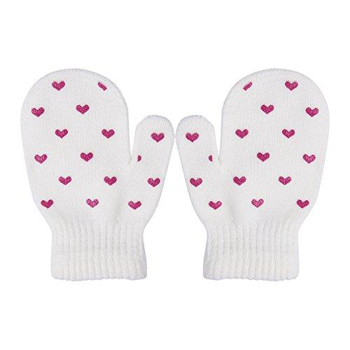 1 Pair Toddler Kids Dot Star Heart Pattern Glovers 3-6Y Mittens Boys Girls Soft Knitting Warm Gloves (Heart, White)