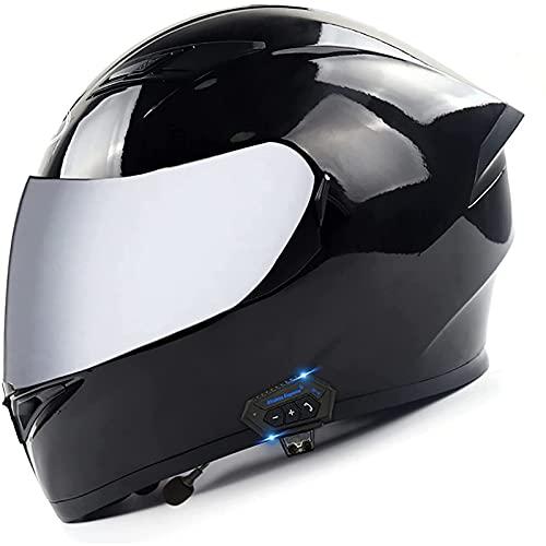 Casco Bluetooth para Motocicleta,Casco Certificado por ECE,Casco Completo Modular con Visera Solar Doble Tipo Abatible,Respuesta Automática Manos Libres C,XXL=63~64CM