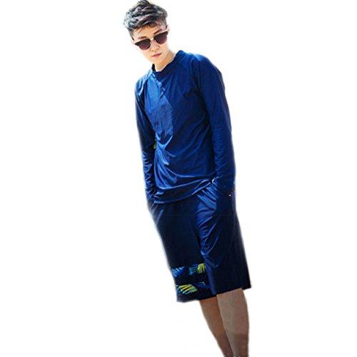 BaronHong Chest Binder Schnell trocknend Surf Anzüge Bademode Set Top + Schwimmen Hosen Für Tomboy Trans Lesben (Navy, XL)