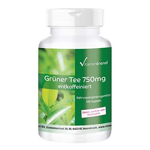 Extracto de Té verde en cápsulas - 750mg por cápsula - Vegano - 180 cápsulas