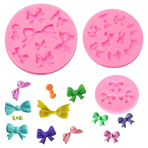 Shangling 3 Pack Bows Silicone Mould, Bow Fondant Sugar Mould Craft Molds