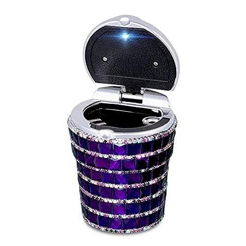 QTQZ Cenicero de Coche con Bling Bling Diamond Auto Cilindro para Quitar el Olor del Humo del Cigarrillo Portavasos con lámpara LED, Morado