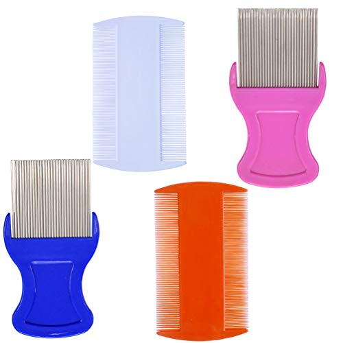 4 Pcs Head Hair Comb Including 2 Pieces Hair Comb Double Sided 2 Pieces Removal Dandruff Comb with Metal Teeth
