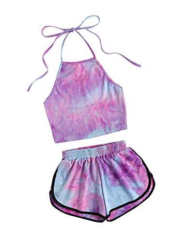 SweatyRocks Women's 2 Piece Set Halter Crop Top and Shorts Set Tie Dye M