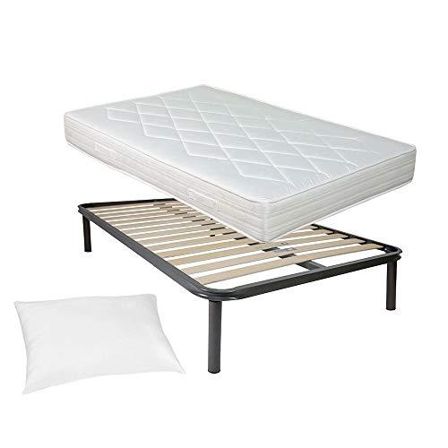 Comprarredo Kit rete e materasso una piazza e mezza 120x190 NORVEGIA più cuscino Top Sleep in regalo, rete una piazza e mezza 14 doghe 120x190 ortopedica con materasso in schiuma alto 19cm, Bianco