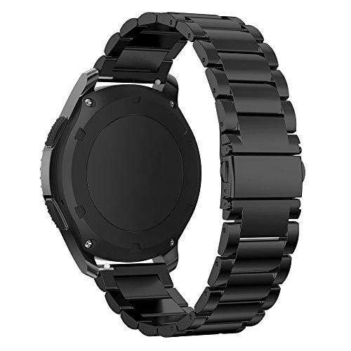 PINHEN Cinturino Compatibile con Galaxy Watch 46mm - 22mm Metallo in Acciaio Inossidabile Banda di Ricambio per Gear S3 Frontier Classic Huawei GT 46mm  Ticwatch E2 (Classic Black)