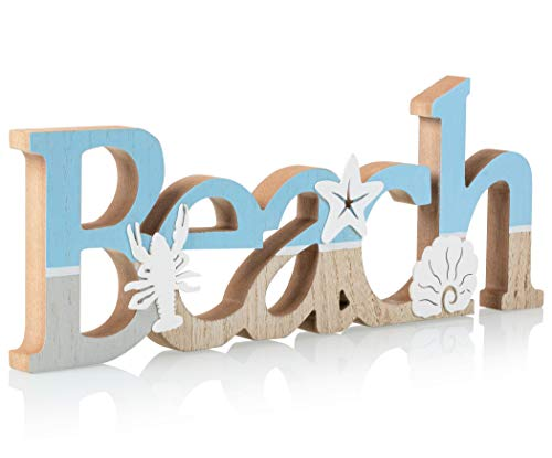 "TideAndTales Wooden Beach Sign 15.5"" x 6"" 