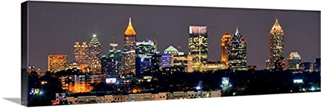 PHOTOSBYJON Canvas Atlanta Skyline Night 16 inches x 46 inches Color City Downtown Photographic Panorama Print Photo Picture