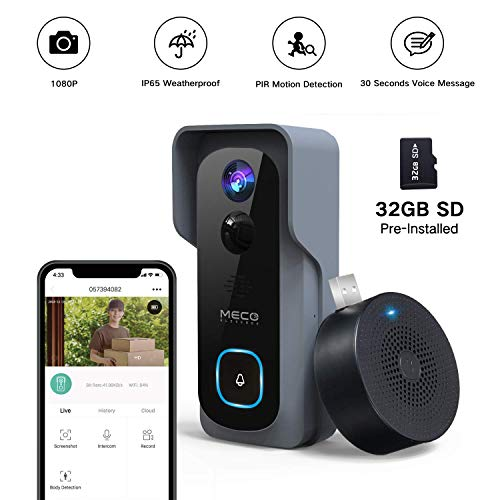 Doorbell Camera Wireless, MECO 1080P Video Doorbell Camera Wireless Doorbell with Chime WiFi Smart Doorbell with PIR Motion Detector, Night Vision, IP65 Waterproof, 166°Wide Angle, 2 Way Audio