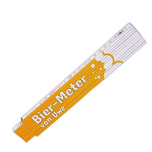 Lustiger Zollstock mit Namen Uwe und Motiv - Bier-Meter - für Männer | Glieder-Maßstab mit Namen bedruckt | Viele Namen zur Auswahl