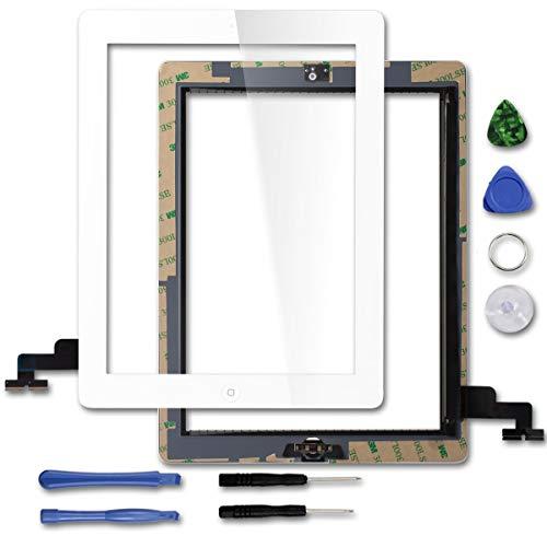 FJG Touch Screen in Vetro digitalizzatore per Apple iPad 2 con Tasto Home e Fotocamera Staffa e Nastro Adesivo premontati (Bianco)