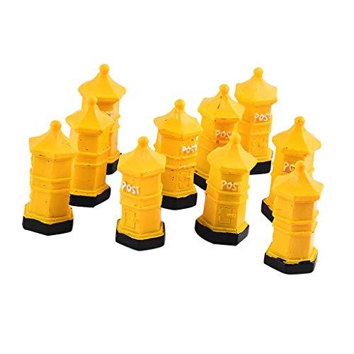 Baoblaze 10 Pieces Micro Landscaping Miniature Doll House Accessories-Mailbox Model ,Fairy Garden Figure Sculpture - Yellow, 15x15x35mm
