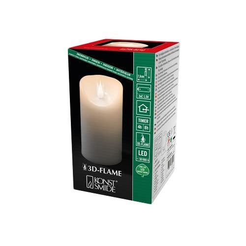 Konstsmide 1830-100, LED Echtwachskerze mit 3D Flamme , weiß / für Innen (IP20) / warm weiße Dioden / 4/8h Timer / Batteriebetrieben: 2xC 1.5V (exkl.)